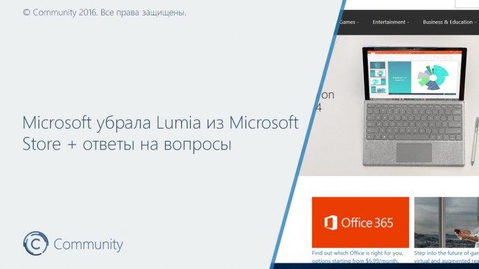 Компания Microsoft убрала раздел стелефонами Lumia сосвоего электронного магазина