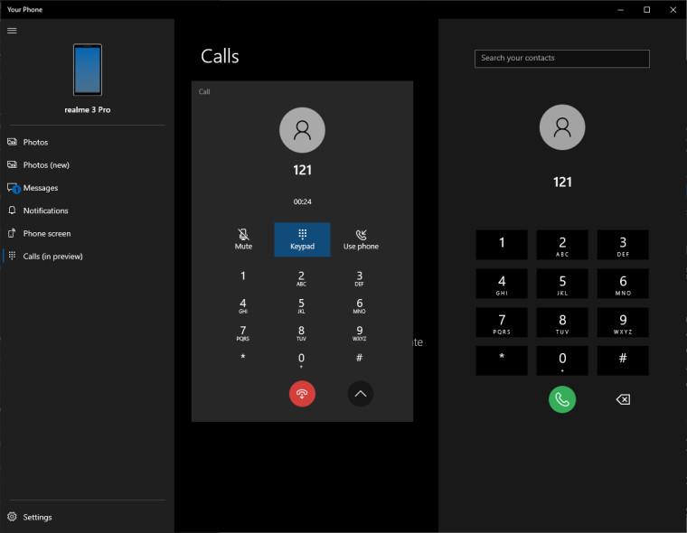 Приложение «Ваш телефон» обзаведётся поддержкой телефонных звонков