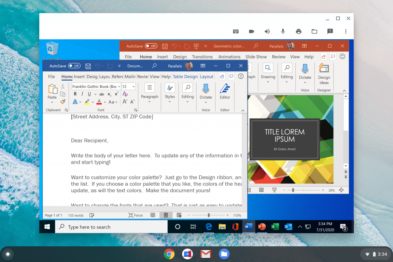 1603224813 microsoft office for windows with word and powerpoint apps running on chrome os in parallels desktop for chromebook enterprise