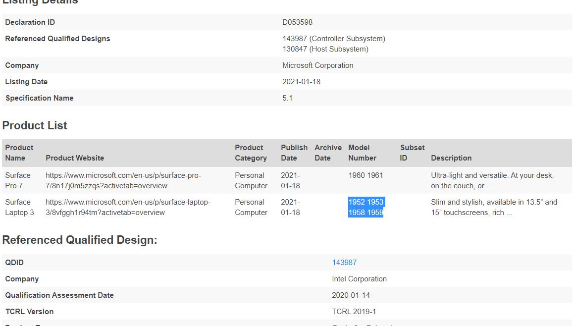 Surface Laptop 3+ или Surface Laptop 4 прошёл сертификацию Bluetooth