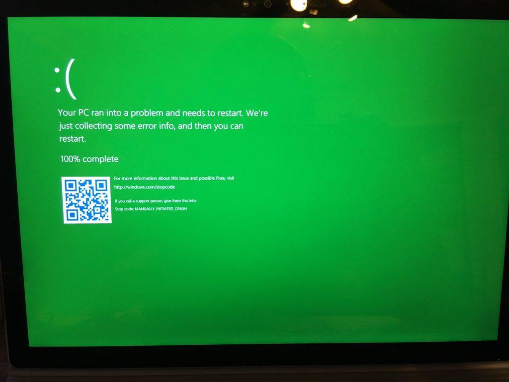 «Зелёный экран смерти» в сборках Windows Insider